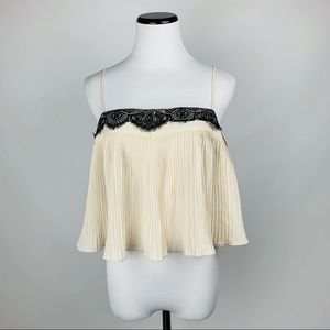 Free people lace pleated rank top